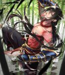 1boy arm_up armor bamboo bamboo_forest bangs black_hair black_pants collarbone fate/grand_order fate_(series) fighting_stance floating_hair forest gauntlets green_eyes leg_up long_hair looking_at_viewer male_focus nature noes outdoors pants parted_lips shirtless smile solo standing standing_on_one_leg steam tattoo white_footwear wind yan_qing_(fate/grand_order)