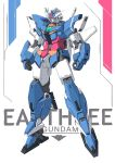 absurdres character_name clenched_hand ctpt9r earthree_gundam green_eyes gundam gundam_build_divers gundam_build_divers_re:rise highres looking_down mecha no_humans solo standing v-fin white_background