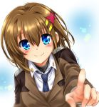 1girl black_shirt blue_eyes brown_jacket closed_mouth dated dress_shirt eyebrows_visible_through_hair foreshortening hair_ornament jacket long_sleeves looking_at_viewer lyrical_nanoha mahou_shoujo_lyrical_nanoha_strikers military military_uniform navy_blue_neckwear necktie pointing pointing_at_viewer san-pon shirt short_hair smile solo tsab_ground_military_uniform twitter_username uniform white_shirt wing_collar x_hair_ornament yagami_hayate