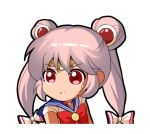 1girl bangs bishoujo_senshi_sailor_moon blue_sailor_collar bow chibi chinese_commentary circlet commentary_request cosplay double_bun eyebrows_visible_through_hair fujiwara_no_mokou hair_bow long_hair looking_at_viewer lowres parody parted_lips pink_hair red_bow red_eyes sailor_collar sailor_moon sailor_moon_(cosplay) sailor_moon_redraw_challenge shangguan_feiying shirt simple_background solo sweat touhou twintails white_background white_bow white_shirt