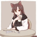 1girl animal_ear_fluff animal_ears black_scarf border brown_hair closed_mouth commentary creamer_packet cup dress grey_background holding holding_cup imaizumi_kagerou long_sleeves looking_at_viewer poronegi red_eyes scarf simple_background sitting smile solo table tail touhou white_border white_dress wide_sleeves wolf_ears wolf_tail