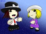 2girls black_skirt blonde_hair blue_background brown_hair dress fedora hat littlebigplanet maribel_hearn mob_cap multiple_girls pale_skin purple_dress red_neckwear sackboy shirt skirt sky star_(sky) starry_sky touhou usami_renko white_shirt