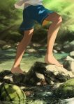 1boy barefoot child climbing faceless faceless_male food fruit morning noeyebrow_(mauve) original outdoors rock scenery shorts shorts_tan solo stream sunlight tan tanline textless walking watermelon