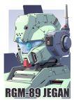 antennae camera character_name close-up grey_background gundam highres jegan mao_(6r) mecha no_humans robot solo visor