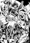 1girl clenched_hand decepticon looking_down mecha millipen_(medium) monochrome multiple_persona nib_pen_(medium) no_humans ryuuichirou_(haineken) shoulder_cannon starscream traditional_media transformers transformers_animated transformers_armada