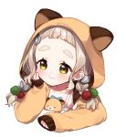 1girl :t animal animal_ears animal_hood blush braid brown_eyes brown_hair brown_jacket closed_mouth collarbone commentary_request dress fake_animal_ears gonzalez_(machita_chima) hair_ornament hamster hamster_ears hood hood_up hooded_jacket jacket long_hair long_sleeves machita_chima nijisanji seed simple_background sleeveless sleeveless_dress sleeves_past_wrists sunflower_seed thick_eyebrows twin_braids virtual_youtuber white_background white_dress yamabukiiro