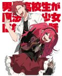 1boy 1girl absurdres ahoge akagami_(konkichi) black_gloves blue_eyes dual_persona genderswap genderswap_(mtf) gloves hairband highres konkichi_(flowercabbage) looking_at_viewer middle_finger original pantyhose red_(konkichi) redhead school_uniform simple_background tongue tongue_out twintails white_background