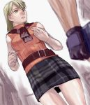 belt biohazard blonde_hair bob_cut hazel_eyes panties pantyshot plaid plaid_skirt resident_evil resident_evil_4 scarf shinama skirt sleeveless sleeveless_turtleneck tartan turtleneck underwear yellow_eyes