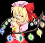 blonde_hair flandre_scarlet glowing hair_twirling hat oniku red_eyes ribbon ribbons short_hair side_ponytail smirk touhou wings