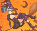 boots broom broom_riding drill_hair green_eyes green_hair highres ribbon ribbons sitting thigh-highs thighhighs witch yuzuno_asaki