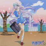 cherry_blossoms highres long_hair mamotte_shugogetten purple_hair school_uniform shugogetten_shaolin wind_lift