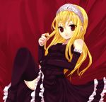 blonde_hair dress gloves hair_twirling kaibutsu_oujo lilianne red_eyes thigh-highs tiara yu_(pixiv)