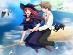blue_eyes breasts broom broom_riding game_cg majodou red_hair redhead sano_toshihide toshihide_sano witch