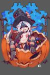1girl :3 absurdres bat breasts brown_eyes chinese_commentary commentary_request costom10 dragon dragon_girl dragon_tail eyebrows_visible_through_hair furry hair_censor hat highres holding_lollipop horns jack-o'-lantern looking_at_viewer navel original simple_background small_breasts solo striped striped_legwear tail white_hair witch_hat