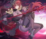 1girl bangs bodysuit breasts capelet closed_mouth commentary_request damda fate/grand_order fate_(series) hair_between_eyes large_breasts legs long_hair looking_at_viewer pauldrons polearm purple_hair red_eyes revision scathach_(fate)_(all) scathach_(fate/grand_order) shoulder_armor solo spear thighs veil weapon