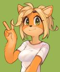 1girl alternate_hair_length alternate_hairstyle animal_ears bangs blonde_hair blush breasts closed_mouth coco_bandicoot crash_bandicoot english_commentary furry green_background green_eyes hand_up happy highres looking_at_viewer medium_breasts no_humans shirt short_hair short_sleeves simple_background smile solo upper_body v wamudraws white_shirt