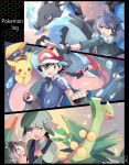 3boys :d alan_(pokemon) ascot ash-greninja bangs baseball_cap black_border black_coat black_gloves black_hair blue_eyes blue_fire blue_jacket blunt_bangs book border bracelet brown_eyes charizard coat collared_shirt copyright_name dark_skin dark_skinned_male fangs fingerless_gloves fire fur_trim gen_1_pokemon gen_3_pokemon gen_6_pokemon glint gloves green_eyes green_hair greninja hat holding holding_book holding_poke_ball jacket jewelry leaf looking_at_viewer looking_to_the_side male_focus mega_charizard_x mega_pokemon mega_ring mega_sceptile mei_(maysroom) multiple_boys open_book open_mouth pikachu pointing poke_ball poke_ball_(generic) poke_ball_symbol pokemon pokemon_(anime) pokemon_(creature) pokemon_xy_(anime) red_eyes satoshi_(pokemon) sceptile shirt shouta_(pokemon) smile starter_pokemon water white_shirt