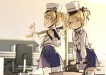 2girls aoi_tsunami bangs blonde_hair blue_dress blurry blurry_background box cardboard_box chair clipboard closed_mouth commentary_request cubicle depth_of_field desk dress grin hat holding indoors jacket long_hair long_sleeves multiple_girls office_chair original ponytail puffy_long_sleeves puffy_sleeves shako_cap smile white_headwear white_jacket