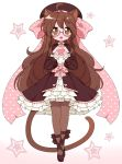 1girl ahoge animal_ears black_footwear black_legwear blush bow brown_hair cat_ears cat_girl cat_tail eyebrows_visible_through_hair glasses hair_bow heart high_heels highres long_hair long_sleeves looking_at_viewer lucky_star oma-chi open_mouth original pantyhose parody pink_bow puffy_long_sleeves puffy_sleeves round_eyewear smile solo style_parody tail very_long_hair wavy_hair yoshimizu_kagami_(style)
