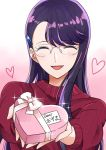 1girl :d asymmetrical_bangs bangs blush bow box closed_eyes facing_viewer glasses heart heart-shaped_box heartcatch_precure! holding holding_box long_hair open_mouth pink_bow precure purple_hair red_sweater ribbed_sweater rimless_eyewear shiny shiny_hair smile solo sweater swept_bangs tsukikage_oyama tsukikage_yuri valentine white_background