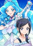 2girls :d bangs black_hair blue_background blue_eyes blue_hair choker closed_mouth collarbone cure_fontaine diadem earrings floating_hair grey_eyes hair_over_shoulder healin'_good_precure holding jewelry long_hair looking_at_viewer multiple_girls off-shoulder_shirt off_shoulder open_mouth parted_bangs ponytail precure sawaizumi_chiyu shiny shiny_hair shirt smile tsukikage_oyama very_long_hair white_shirt