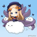 >_< 1girl :3 abigail_williams_(fate/grand_order) bangs black_bow black_dress black_headwear blonde_hair blue_background blue_eyes bow chibi closed_eyes closed_mouth clouds commentary_request dress fate/grand_order fate_(series) forehead gradient gradient_background hair_bow hat long_hair long_sleeves miicha mutsuki_face object_hug orange_bow parted_bangs polka_dot polka_dot_bow sleeves_past_fingers sleeves_past_wrists smile solid_circle_eyes solo stuffed_animal stuffed_toy suction_cups teddy_bear tentacles twitter_username very_long_hair
