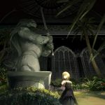 1girl arch arm_at_side artoria_pendragon_(all) bangs bare_shoulders black_dress black_gloves blonde_hair bush ceiling choker dress elbow_gloves fate_(series) gloves grass greenhouse hair_bun hair_ribbon highres indoors looking_away looking_to_the_side night outstretched_arm plant ribbon saber see-through shawl sidelocks sleeveless sleeveless_dress solo statue taro-k tree window