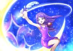 1girl :d armpits blue_eyes collarbone crescent_moon dress eyebrows_visible_through_hair floating_hair henshin holding holding_pen kaguya_madoka long_hair moon open_mouth pen pouch precure purple_dress purple_hair short_dress sitting sleeveless sleeveless_dress smile solo star_twinkle_precure tsukikage_oyama