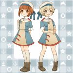 2girls alternate_costume anchor bangs blue_eyes blunt_bangs blush boat boots brown_eyes brown_footwear brown_hair cocoperino dolphin dress eyebrows_visible_through_hair full_body hat innertube kantai_collection kneehighs multiple_girls open_mouth sailor_hat short_hair short_sleeves silver_hair simple_background smile standing starfish thigh-highs watercraft white_headwear white_legwear z1_leberecht_maass_(kantai_collection) z3_max_schultz_(kantai_collection)