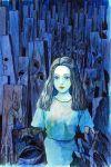 1girl black_hair blue_shirt blue_skirt blue_theme closed_mouth curly_hair highres itou_junji medium_hair original red_lips shirt skirt solo standing