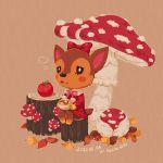 1girl animal_ears apple artist_name bow bowtie brown_background dated deer deer_ears deer_tail doremi_(doubutsu_no_mori) doubutsu_no_mori food fruit fur_trim furry leaf matchaneko mushroom open_mouth sitting solo tree