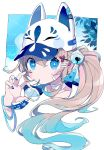 +_+ 1girl animal_ears animal_hat bandaid bangs baseball_cap bell blue_eyes blue_hair blue_nails brown_hair chon_(chon33v) collarbone commentary_request egasumi fake_animal_ears fox_ears fox_hat gradient_hair hair_bell hair_between_eyes hair_ornament hand_up hat high_collar highres jingle_bell long_hair looking_at_viewer mouth_hold multicolored_hair nail_polish original portrait side_ponytail signature solo very_long_hair white_background white_headwear wind_chime