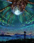 1girl artist_request black_hair highres japanese_clothes kimi_no_na_wa. kimono meteor miyamizu_mitsuha night night_sky short_hair sky smoke source_request spoilers star_(sky) starry_sky yukata