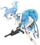 1girl absurdres ads_(girls_frontline) ads_assault_rifle ass barefoot blue_dress blue_eyes blue_flower blue_hair blush closed_mouth commentary dress facial_mark floating_hair flower forehead forehead_mark full_body girls_frontline gloves gun highres holding holding_gun holding_weapon long_hair looking_at_viewer no_shoes object_namesake panties ponytail puffy_short_sleeves puffy_sleeves see-through short_sleeves simple_background single_thighhigh soles solo thigh-highs tsukiyo_(skymint) underwear weapon white_background white_gloves white_legwear white_panties