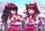 2girls adjusting_eyewear ahoge animal_ears blush bow brown_hair cat_ears cat_girl cat_tail cherry_blossoms collaboration collarbone day eyebrows_visible_through_hair fang glasses hair_between_eyes hair_bow hand_on_hip heart heart_ahoge heart_hands kirakipeachy long_hair long_sleeves looking_at_viewer lucky_star messy_hair multiple_girls neckerchief oma-chi open_mouth original outdoors pink_bow pink_eyes pleated_skirt ponytail red_neckwear red_skirt round_eyewear shirt sidelocks skirt smile tail tail_bow wavy_hair white_shirt