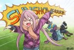 >_< 5girls :d artist_name bangs black_gloves black_hair blush boots brown_footwear brown_scarf coat commentary english_commentary fingerless_gloves gloves grass hair_between_eyes highres inuyama_aoi jan_azure kagamihara_nadeshiko long_hair multiple_girls oogaki_chiaki open_mouth pants pink_hair saitou_ena scarf shima_rin smile standing twitter_username yurucamp