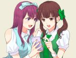 2girls :d blue_bow blue_neckwear blue_vest blush bow brown_eyes brown_hair cellphone facing_viewer green_bow green_neckwear green_vest hair_bow hand_on_another's_shoulder long_hair multiple_girls necktie open_mouth oshi_ga_budoukan_itte_kuretara_shinu phone s_c_k short_sleeves smartphone smile teramoto_yuuka twintails vest violet_eyes wrist_cuffs yokota_aya