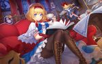 alice_margatroid bangs black_legwear blonde_hair blue_dress blue_eyes boots cowboy_shot cup dress eyebrows eyebrows_visible_through_hair hair_between_eyes hair_ornament hairband highres holding holding_cup looking_at_viewer pantyhose short_hair sitting smile sramy teacup touhou