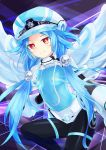 1girl absurdres blue_hair bodysuit breasts covered_navel feathers flat_chest gauntlets hair_ornament hat highres long_hair looking_at_viewer neptune_(series) next_white orange_eyes shibuminigai shin_jigen_game_neptune_vii sidelocks smile solo symbol-shaped_pupils white_heart