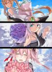 3girls alternate_costume bangs blue_eyes bouquet braid closed_eyes clouds flower hair_flaps hair_ornament hair_ribbon hairclip harusame_(kantai_collection) highres kantai_collection light_brown_hair long_hair long_sleeves mole mole_under_eye multiple_girls murasame_(kantai_collection) off_shoulder one_eye_closed one_side_up pink_flower pink_hair purple_flower red_eyes ribbon rose sailor_collar sidelocks silver_hair sky sugue_tettou tulip twintails twitter_username umikaze_(kantai_collection) upper_body white_flower