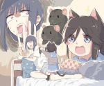 2girls animal_ears blue_eyes blue_hair blue_sailor_collar brown_hair cat_ears cat_tail cellphone hibike!_euphonium highres kasaki_nozomi liz_to_aoi_tori lyy multiple_girls on_bed phone pillow rat red_eyes sailor_collar tail yoroizuka_mizore