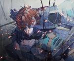 2boys amu_(nsk0) armor battle black_hair bleeding blood brown_hair closed_eyes cuts felix_hugo_fraldarius fire_emblem fire_emblem:_three_houses gauntlets injury multiple_boys outdoors rain sylvain_jose_gautier