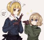 2girls ? apron bangs black_gloves blonde_hair blue_eyes blue_jacket blunt_bangs commentary cutlass_(girls_und_panzer) dog eyebrows_visible_through_hair fox_shadow_puppet frilled_apron frills girls_und_panzer glove_pull gloves green_jumpsuit imagining jacket jumpsuit katyusha_(girls_und_panzer) light_frown long_sleeves looking_at_viewer maid_headdress military military_uniform multiple_girls ooarai_military_uniform pravda_military_uniform shirt short_hair smirk sparkle standing thought_bubble uniform waist_apron yellow_eyes yuuyu_(777)
