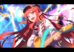 1girl :d arknights black_headwear black_ribbon blurry braid chinese_commentary collared_shirt commentary confetti cowboy_shot demon_horns depth_of_field flat_chest guitar hair_ornament hair_ribbon hairclip happy_new_year hat highres holding holding_instrument horns instrument jacket kagura_tohru letterboxed long_hair music necktie new_year open_clothes open_jacket open_mouth playing_instrument pointy_ears red_eyes red_neckwear redhead ribbon shirt smile solo vigna_(arknights) white_jacket white_shirt wing_collar
