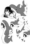 1girl absurdres airandou blush highres long_hair lying monochrome multiple_views nintendo_switch on_floor on_stomach original rolling shark_costume shark_sleeping_bag very_long_hair