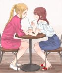 1girl blue_skirt blush chair cup drinking_straw eripiyo eye_contact hand_on_another's_arm ichii_maina indoors jacket leaning_forward long_hair looking_at_another oshi_ga_budoukan_itte_kuretara_shinu ponytail profile red_jacket s_c_k sandals shirt shorts sidelocks sitting skirt table track_suit two_side_up white_footwear white_shirt wooden_floor