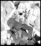 1girl 1other 2boys black_border border bow charles_henri_sanson_(fate/grand_order) chevalier_d'eon_(fate/grand_order) closed_eyes clutching_chest cravat dark_persona fate/grand_order fate_(series) gloves greyscale hat hood marie_antoinette_(fate/grand_order) monochrome multiple_boys multiple_persona pauldrons shoulder_armor smile syatey wolfgang_amadeus_mozart_(fate/grand_order)