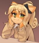 1girl :3 alternate_costume alternate_hairstyle animal_ears bangs black_bow blonde_hair blush bow breasts brown_background brown_sweater closed_mouth coco_bandicoot crash_bandicoot english_commentary eyebrows_visible_through_hair furry green_eyes hair_bow hair_ornament hairclip half-closed_eyes hands_on_own_face hands_up happy light_blush long_hair long_sleeves looking_at_viewer medium_breasts no_humans ponytail school_uniform shiny shiny_hair shirt simple_background sitting smile solo sweater tied_hair upper_body wamudraws white_shirt