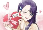 1girl ;d asymmetrical_bangs bangs blue_eyes bow box eyebrows_visible_through_hair glasses hair_ornament hairclip heart heart-shaped_box heartcatch_precure! holding holding_box long_hair long_sleeves looking_at_viewer one_eye_closed open_mouth pink_bow precure purple_hair ribbed_sweater rimless_eyewear shiny shiny_hair smile solo sweater tsukikage_oyama tsukikage_yuri upper_body valentine white_background yellow_sweater
