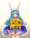 1girl animal_ears bangs bare_shoulders blue_dress blue_hair blunt_bangs blush brown_eyes closed_mouth collarbone crossed_arms dress eyebrows_visible_through_hair fake_animal_ears flower hairband highres holding holding_flower long_hair looking_at_viewer oma-chi original rabbit_ears ribbon smile solo sunflower yellow_ribbon